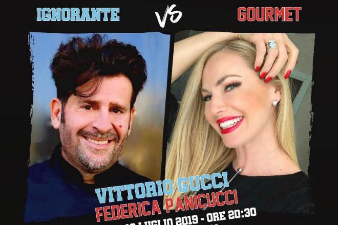 Vittorio Gucci sfida Federica Panicucci con il panino ignorante